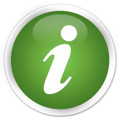 Info icon soft green glossy round button