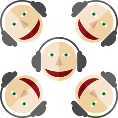 Five images of DJ. Man in the earphones. White background.