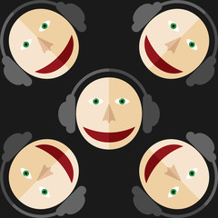 Five images of DJ. Man in the earphones. Black background.