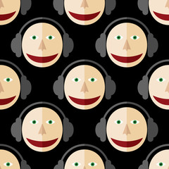 Seamless pattern of a man in headphones. DJ. Black background.