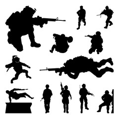 Soldier Military War Training for Mission - Silhouette Set