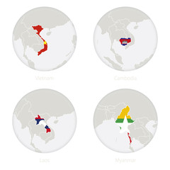 Vietnam, Cambodia, Laos, Myanmar map contour and national flag in a circle. Vector Illustration.