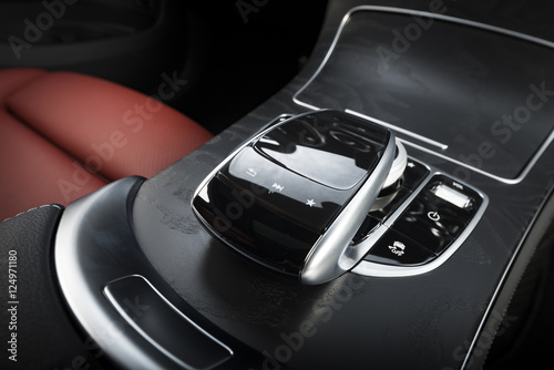 modern sport car red leather interior futuristic control panel fotolia. Black Bedroom Furniture Sets. Home Design Ideas