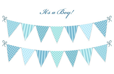 Cute vintage textile blue shabby chic bunting flags for boy's baby shower
