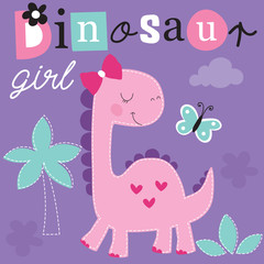 cute dinosaur girl vector illustration