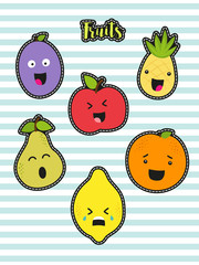 Cute set of fashion patches with cartoon characters of fruits on trendy striped background