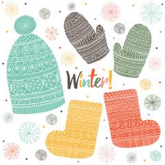 Winter clothes. Cute vector set.