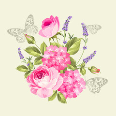 Spring flowers bouquet with butterflies. Label with rose flowers and lavender. Vector illustration.