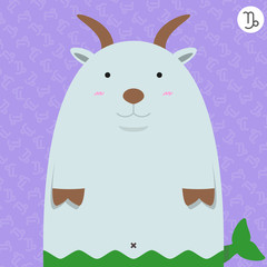 cute big fat capricorn zodiac cartoon