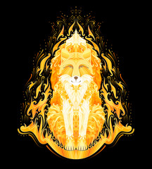 Spirit of fire, magic fire totem of fox werewolf on black background, vector