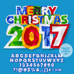 Vector sticker Merry Christmas 2017 greeting card with set of letters, symbols and numbers. File contains graphic styles
