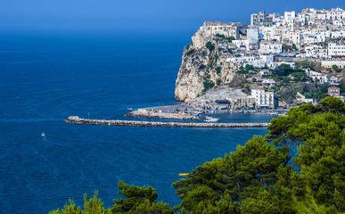 Gargano coast: bay of Rodi garganico.-(Apulia) ITALY-Panoramic view of the old city.