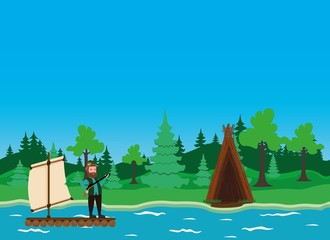 Forest hut and hunter on the raft