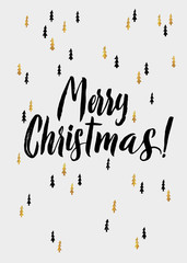 Merry Christmas hand lettering and Golden  Tree. Vector image