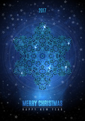 Christmas background with big vintage blue gold snowflake. Vector eps 10.