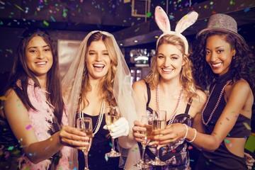 Composite image of friends celebrating bachelorette party