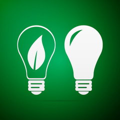 Bulb flat icon on green background. Vector Illustration