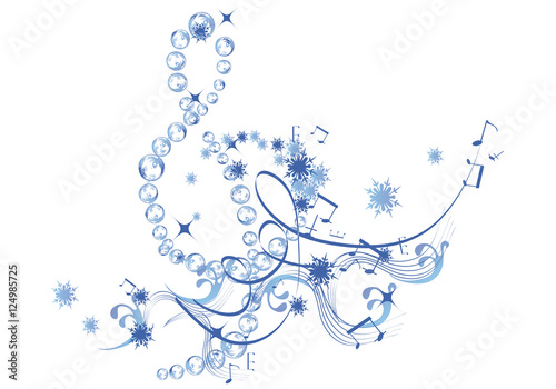 Winter music abstract treble clef decorated with snowflakes and winter music abstract treble clef decorated with snowflakes and notes voltagebd Images