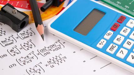 Mathematics, Math Equations close-up. Math homework or math exams. Solving Mathematical Problem. Math formula concepts.