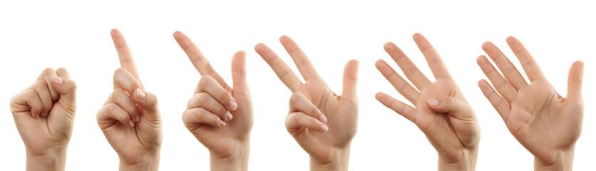 Hände zählen von null bis fünf