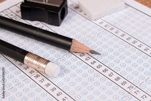 Standard Test Form Or Answer Sheet Focus On Pencil Bubble