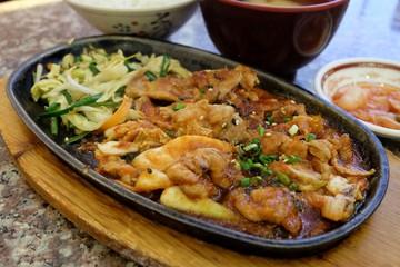Fried pork with kimchi, Korean food.