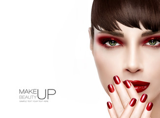 Beauty and Makeup concept. Fashion Make-up and Nails in Burgundy