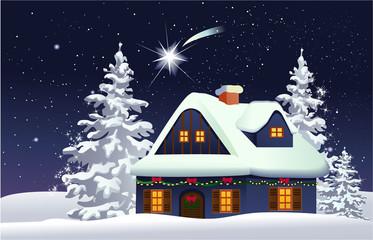 Christmas snowy house