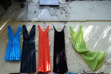 colorful dresses on wall
