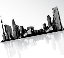Black and white panorama of cityscape placed in angle.