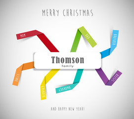 Christmas best wishes for family template with colorful folded p