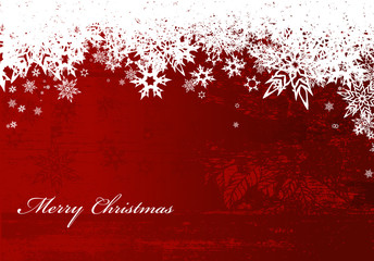 Abstract background with snowflakes and Merry Christmas text.
