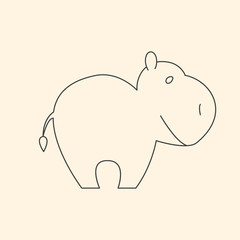 One line cute hippo vector illustration
