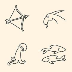 One line zodiac symbols set - Sagittarius, Capricorn, Aquarius,