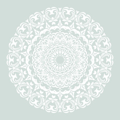 Elegant vector round white ornament in classic style. Abstract traditional pattern with oriental elements