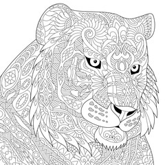 Stylized tiger (lion, wildcat), isolated on white background. Freehand sketch for adult anti stress coloring book page with doodle and zentangle elements.