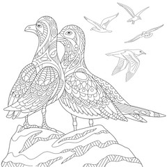 Stylized seagulls, flock of marine birds. Freehand sketch for adult anti stress coloring book page with doodle and zentangle elements.