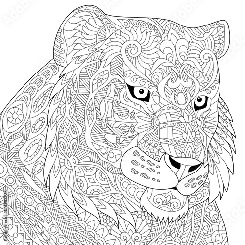Stylized Tiger Lion Wildcat Isolated On White Background Freehand Sketch For