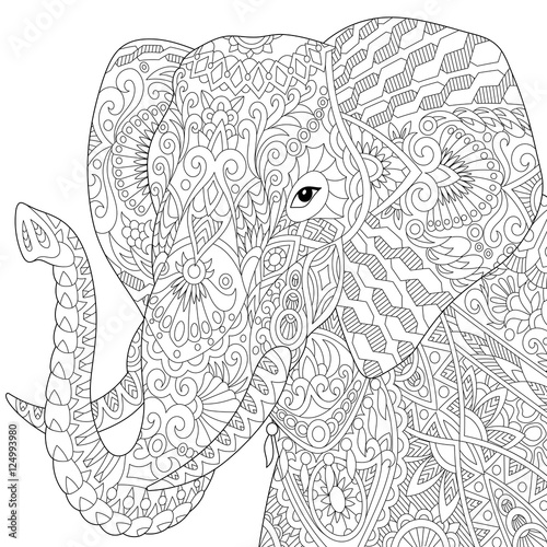 Anti Stress Kleurplaten Dieren Quot Stylized Elephant Isolated On White Background Freehand