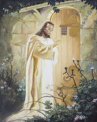 Jesus knocking on the door, original oil painting on canvas