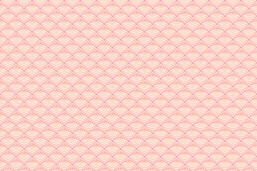 seamless pattern dragon fish scales simple seamless pattern Nature background with japanese wave circle pattern pastel colors on light orange pink background. Vector