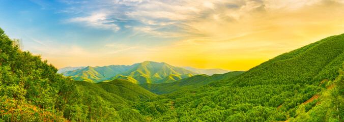 Mountain valley at sunset Wall mural