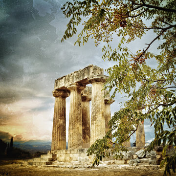 Temple of Apollo in Ancient Corinth Greece.  Filtered image, vintage effect applied