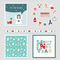 Merry Christmas and Happy New Year 2017 templates set. Greeting cards, decorative ribbon and cute stickers. Seamless pattern added in swatches.