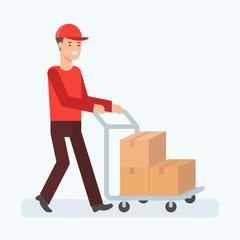 Vector illustration of man transporting boxes, cargo transportation concept
