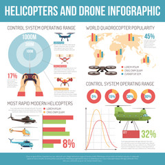 Helicopters And Drone Infographics