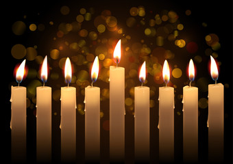 Hanukkah realistic vector candles over bokeh background. Created with gradient mesh.