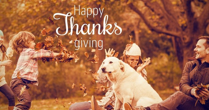 Composite image of thanksgiving greeting text