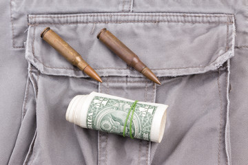 Bullets and Moneys on Soldier Pants