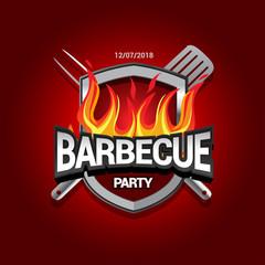 Barbecue party design with fire on shield, Barbecue invitation. Barbecue logo. BBQ template menu design. Barbecue Food flyer. Barbecue advertisement. Barbecue ad design.